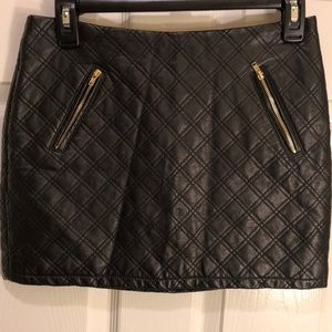 Express Quilted Faux Leather Black Mini Skirt